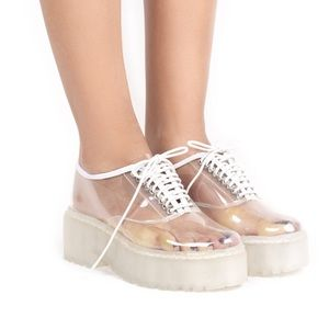 Jeffrey Campbell lace up clear wedges